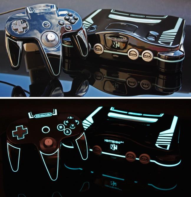 N64 personalizado com tema de TRON e luzes, criado por Zoki64