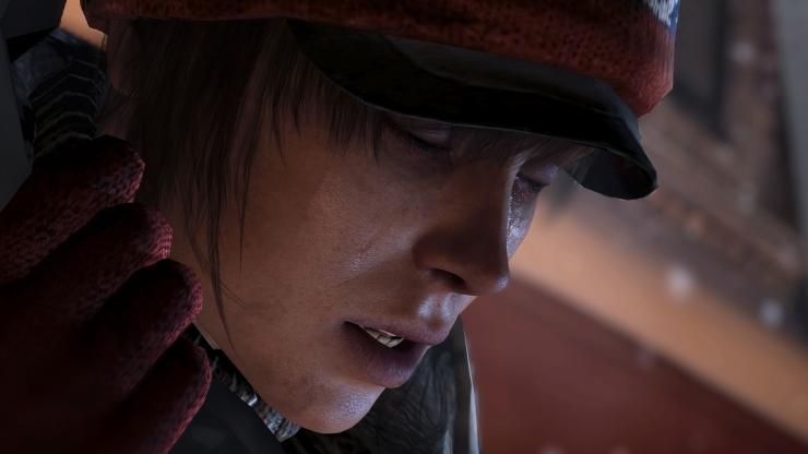 Repare no brilho das lágrimas no rosto de Jodie